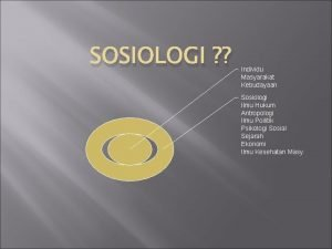 SOSIOLOGI Individu Masyarakat Kebudayaan Sosiologi Ilmu Hukum Antropologi