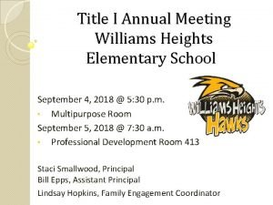Title I Annual Meeting Williams Heights Elementary School