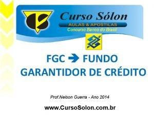FGC FUNDO GARANTIDOR DE CRDITO e Prof Nelson