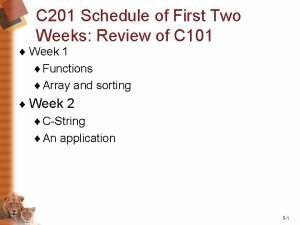 C 201 Schedule of First Two Weeks Review
