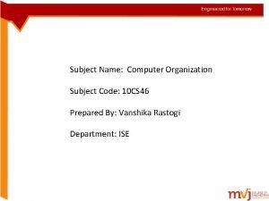 Subject Name Computer Organization so Subject Code 10