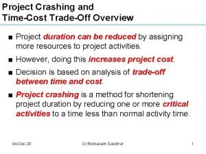 Project Crashing and TimeCost TradeOff Overview Project duration