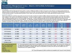 Discretionary Management Service March 2018 Portfolio Performance Your