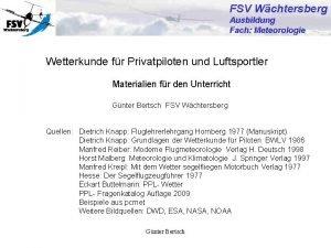 FSV Wchtersberg Ausbildung Fach Meteorologie Wetterkunde fr Privatpiloten