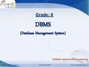Database Management System Grade X DBMS Database Management