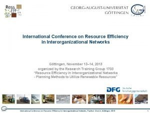 International Conference on Resource Efficiency in Interorganizational Networks
