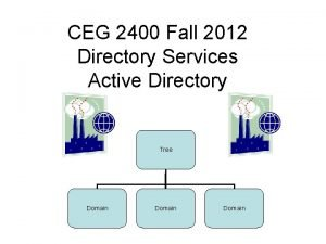 CEG 2400 Fall 2012 Directory Services Active Directory