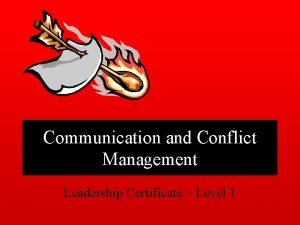 Communication and Conflict Management Leadership Certificate Level 1
