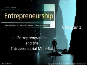 Chapter 1 Entrepreneurship and the Entrepreneurial MindSet 2014
