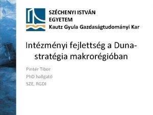 SZCHENYI ISTVN EGYETEM Kautz Gyula Gazdasgtudomnyi Kar Intzmnyi