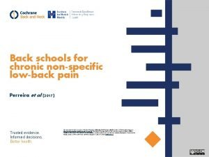 Back schools for chronic nonspecific lowback pain Perreira