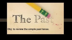 Obj to review the simple past tense Queridos