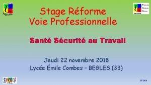 Stage Rforme Voie Professionnelle Sant Scurit au Travail