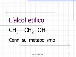 Lalcol etilico CH 3 CH 2 OH Cenni