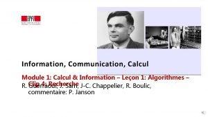 Information Communication Calcul Module 1 Calcul Information Leon