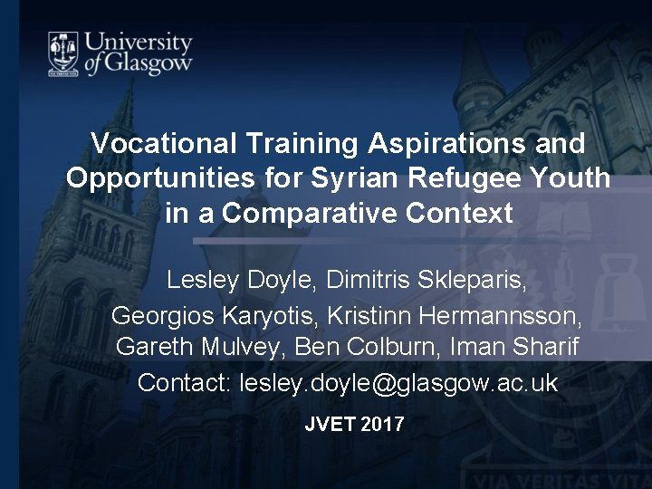 Vocational Training Aspirations and Opportunities for Syrian Refugee
