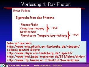 Vorlesung 4 Das Photon Roter Faden Eigenschaften des