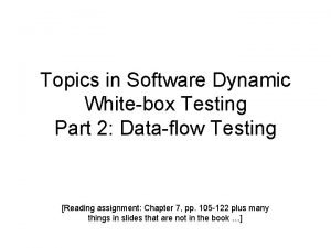 Topics in Software Dynamic Whitebox Testing Part 2