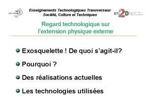 Enseignements Technologiques Transversaux Socit Culture et Techniques Regard