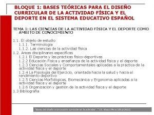 BLOQUE 1 BASES TERICAS PARA EL DISEO CURRICULAR