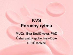 KVS Poruchy rytmu MUDr Eva Sedlkov Ph D