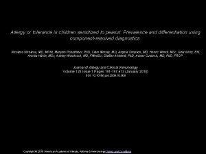 Allergy or tolerance in children sensitized to peanut