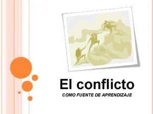 El conflicto COMO FUENTE DE APRENDIZAJE El conflicto