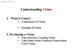 Building Vision Understanding Vision 1 What is Vision