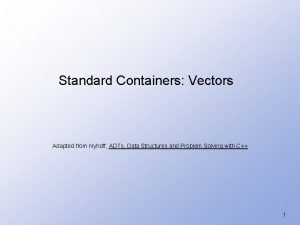 Standard Containers Vectors Adapted from Nyhoff ADTs Data