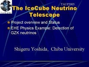 TAUP 2003 The Ice Cube Neutrino Telescope Project