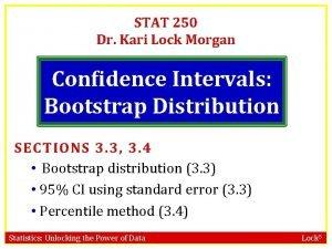 STAT 250 Dr Kari Lock Morgan Confidence Intervals