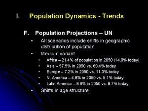 I Population Dynamics Trends F Population Projections UN