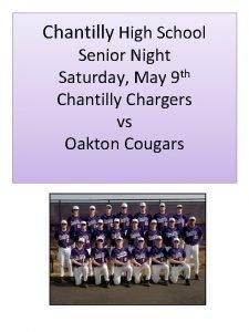 Chantilly High School Senior Night Saturday May 9