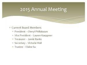 2015 Annual Meeting Current Board Members President Cheryl