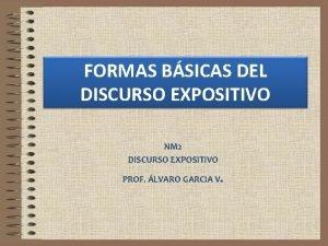 FORMAS BSICAS DEL DISCURSO EXPOSITIVO NM 2 DISCURSO