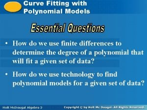 Curve with Curve Fitting with Polynomial Models How