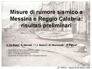 Misure di rumore sismico a Messina e Reggio