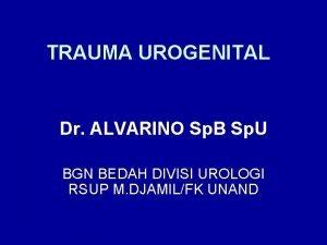 TRAUMA UROGENITAL Dr ALVARINO Sp B Sp U