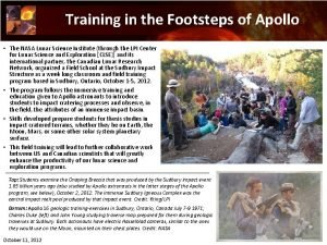 Training in the Footsteps of Apollo The NASA
