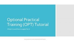 Optional Practical Training OPT Tutorial What it is