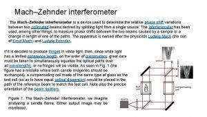 MachZehnder interferometer The MachZehnder interferometer is a device
