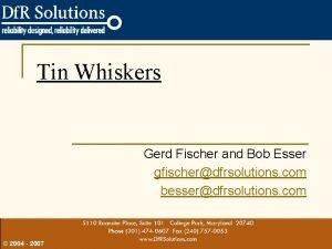 Tin Whiskers Gerd Fischer and Bob Esser gfischerdfrsolutions