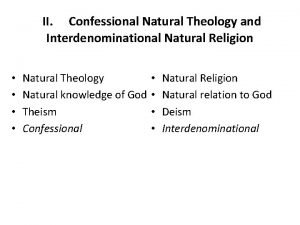 II Confessional Natural Theology and Interdenominational Natural Religion