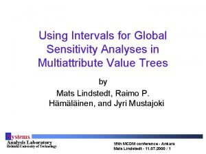 Using Intervals for Global Sensitivity Analyses in Multiattribute