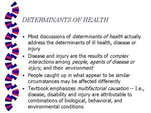 DETERMINANTS OF HEALTH Most discussions of determinants of