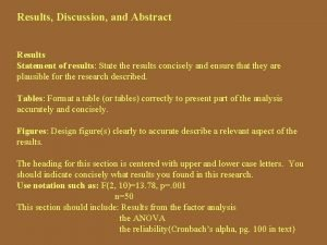 Results Discussion and Abstract Results Statement of results