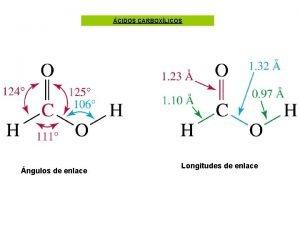 CIDOS CARBOXLICOS ngulos de enlace Longitudes de enlace
