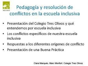 Pedagoga y resolucin de conflictos en la escuela