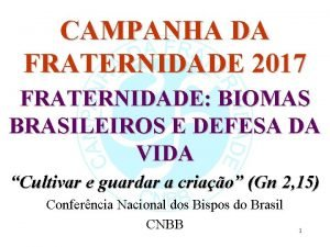 CAMPANHA DA FRATERNIDADE 2017 FRATERNIDADE BIOMAS BRASILEIROS E