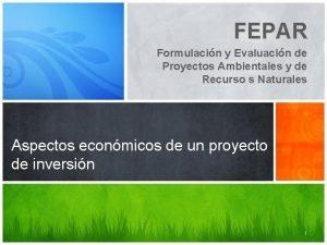 FEPAR Formulacin y Evaluacin de Proyectos Ambientales y